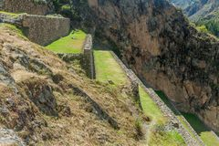 Inca`s agricultural terraces in Ollantaytambo royalty free stock photo
