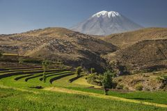 Inca's garden and active volcano Misti. Arequipa, Peru. Colour horizontal image Royalty Free Stock Photos