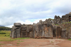 Inca's sacred town. The walls of the old Inca fortified sacred town of Saqsaywaman stock image