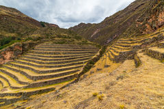 Inca's terraces in Pisac, Sacred Valley, Peru. Wide angle view of the glowing majestic concentric terraces of Pisac, Inca's site in Sacred Valley, major travel Royalty Free Stock Photography
