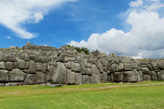 Inca Sacsayhuaman city in Peru. Saksaywaman, Saqsaywaman, Sasawaman, Saksawaman, Sacsahuayman, Sasaywaman, Saksaq Waman citadel on the northern outskirts of the Stock Photo