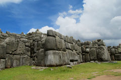 Inca Sacsayhuaman city in Peru. Saksaywaman, Saqsaywaman, Sasawaman, Saksawaman, Sacsahuayman, Sasaywaman, Saksaq Waman citadel on the northern outskirts of the Stock Image