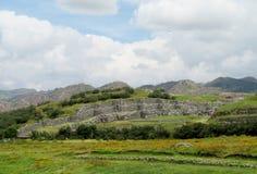 Inca Sacsayhuaman city ruins in Peru royalty free stock photo