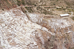 Inca salt extraction terraces. Aerial view of the terraces built by the Incas for salt extraction, which are still in use Stock Photos