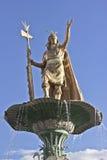 Inca statue over fountain. Statue of the Inca Pachacutec over the fountain at the Plaza de Armas in Cuzco, Peru stock photos