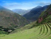 Inca stepped terraces near Machu Picchu in Peru. Agriculture terraces and mountain roads stepwise of Machu Picchu in urubamba valley Peru Stock Images