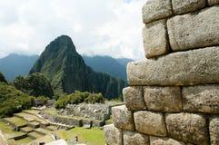 Inca Stone Bricks Construction - Machu Picchu - Peru Imagem de Stock