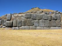Inca stone wall at Saqsaywaman, Cusco, Peru Royalty Free Stock Photo