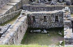 Inca Stone Walls Machu Picchu Peru South America stock photo