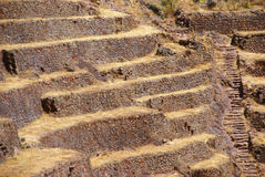 Inca stone walls and terraced fields Royalty Free Stock Images