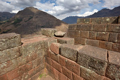 Inca structures in the urban sector of Pisac Stock Image
