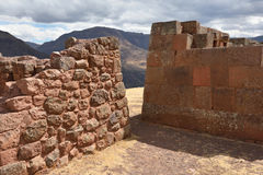 Inca structures in the urban sector of Pisac Stock Photo