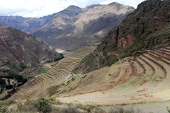 Inca structures in the urban sector of Pisac. Royalty Free Stock Photos