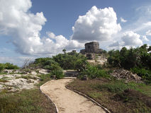 Inca temple in ruin in front of the caribbean sea in Tulum Stock Photography