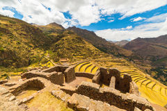 Inca terraces and building ruins in Pisac, Sacred Valley, Peru Royalty Free Stock Photos