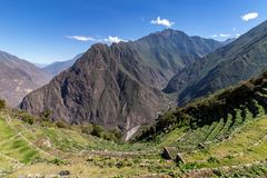 Inca Terraces, de Bergen van de Andes, Peru stock foto