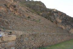 Inca Terraces in Ollantaytambo Stock Images