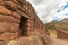 Inca terraces and walls in Pisac, Sacred Valley, Peru Royalty Free Stock Photos