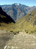 Inca Trail. The ancient Inca road in the Andes, Peru royalty free stock image
