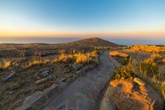 Inca trail on Amantani' Island, Titicaca Lake, Peru Stock Image