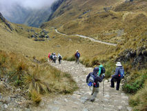 Inca trail Cuzco mountain valley. Walking down steps Stock Image