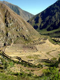 Inca Trail - Llaqtapata. An ancient Inca city on the Inca Trail in the Peruvian Andes Stock Photos