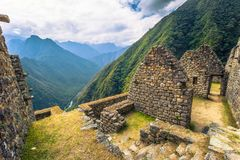 Inca Trail, Peru - August 03, 2017: Ancient ruins of Winay Wayna on the Inca Trail, Peru. Inca Trail, Peru - August 03, 2017: The Ancient ruins of Winay Wayna on stock image