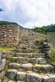 Inca Trail, Peru - August 03, 2017: Ancient ruins of Winay Wayna on the Inca Trail, Peru. Inca Trail, Peru - August 03, 2017: The Ancient ruins of Winay Wayna on stock photo