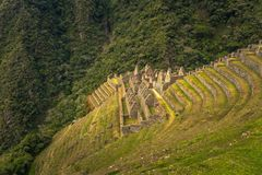 Inca Trail, Peru - August 03, 2017: Ancient ruins of Winay Wayna on the Inca Trail, Peru. Inca Trail, Peru - August 03, 2017: The Ancient ruins of Winay Wayna on stock images