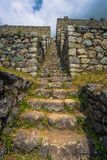 Inca Trail, Peru - August 03, 2017: Ancient ruins of Winay Wayna on the Inca Trail, Peru. Inca Trail, Peru - August 03, 2017: The Ancient ruins of Winay Wayna on royalty free stock photos