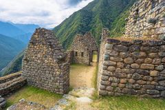 Inca Trail, Peru - August 03, 2017: Ancient ruins of Winay Wayna on the Inca Trail, Peru. Inca Trail, Peru - August 03, 2017: The Ancient ruins of Winay Wayna on royalty free stock images