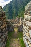 Inca Trail, Peru - August 03, 2017: Ancient ruins of Winay Wayna on the Inca Trail, Peru. Inca Trail, Peru - August 03, 2017: The Ancient ruins of Winay Wayna on royalty free stock image