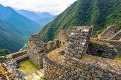 Inca Trail, Peru - August 03, 2017: Ancient ruins of Winay Wayna on the Inca Trail, Peru stock image