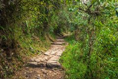 Inca Trail, Peru - August 03, 2017: Entrance to the Sun Gate on