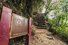 Inca Trail, Peru - August 03, 2017: Entrance to Winay Wayna on t. Inca Trail, Peru - August 03, 2017: The Entrance to Winay Wayna on the Inca Trail, Peru stock images