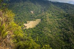 Inca Trail, Peru - August 03, 2017: Panoramic view of the Ancient ruins of Winay Wayna, on the Inca Trail, Peru. Inca Trail, Peru - August 03, 2017: The stock photography