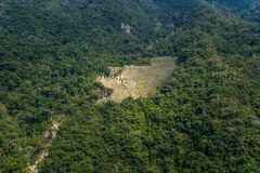 Inca Trail, Peru - August 03, 2017: Panoramic view of the Ancient ruins of Winay Wayna, on the Inca Trail, Peru. Inca Trail, Peru - August 03, 2017: The royalty free stock photo