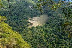 Inca Trail, Peru - August 03, 2017: Panoramic view of the Ancient ruins of Winay Wayna, on the Inca Trail, Peru. Inca Trail, Peru - August 03, 2017: The royalty free stock photos