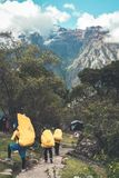 Inca Trail Peru: Augusti 11th, 2018: Incaportvakter bär turisters bagage och campa lättheter under Inca Trail Trek till royaltyfria bilder