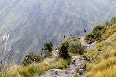 Man enjoying the beautiful landscape while on hiking trail stock photos