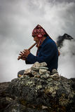 Inca Trail Prayer. Inca Trail Guide performing an ancient Inca prayer royalty free stock photo