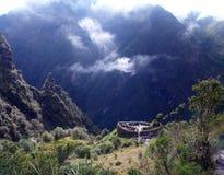 The Inca Trail to Machu Picchu, Peru. Circular ruins Runkuraqay, Inca trail to Machu Picchu, Peru royalty free stock image