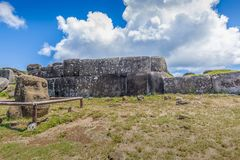 The Inca wall of Ahu Vinapu royalty free stock photography
