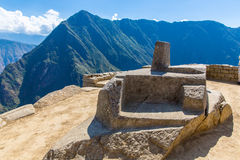 Inca Wall in Machu Picchu, Peru, South America. Example of polygonal masonry. The famous 32 angles stone in ancient Stock Photo