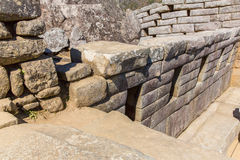 Inca Wall in Machu Picchu, Peru, South America. Example of polygonal masonry. The famous 32 angles stone Stock Images