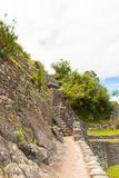 Inca Wall in Machu Picchu, Peru, South America. Example of polygonal masonry. The famous 32 angles stone Stock Photo