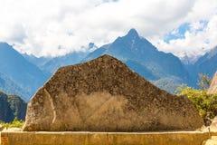 Inca Wall in Machu Picchu, Peru, South America. Example of polygonal masonry. The famous 32 angles stone Stock Photo
