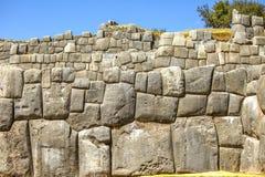Inca wall of perfectly fitting mega stones Stock Photos