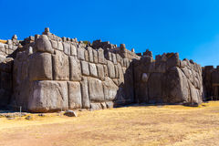 Inca Wall in SAQSAYWAMAN, Peru, South America. Example of polygonal masonry. The famous 32 angles stone Royalty Free Stock Images