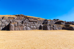 Inca Wall in SAQSAYWAMAN, Peru, South America. Example of polygonal masonry. The famous 32 angles stone Stock Images